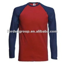2012 low price fashion long sleeve baseball t-shirt with printing logo