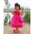 Children Girls Elegant Rosettes Hot Pink Party Dress