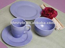 24pcs Stoneware Round Dinner Set, Lilac