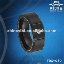 8mm Tungsten carbide Ring,IP black plated, zircon inlay,brushed surface