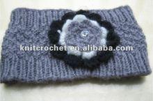 New Design Hand made Knit Crochet Headwrap Ear Warmer Headband Hair Jewelry with Hand Crochet Beaded Flowers