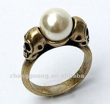 2012 fashion two skull pearl ring