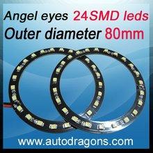 64mm car led angel eyes Headlight 24 SMD LED Ring light white