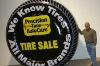 2012 hot sale item advertisement inflatable tire billboard with led chain
