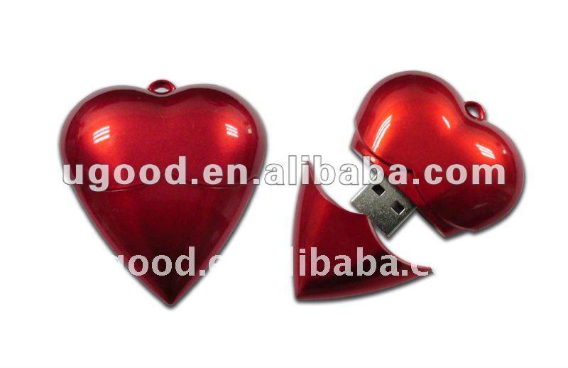 red love shape usb drive flash