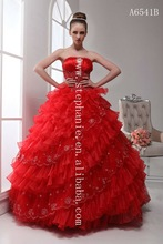 (A6541) Guangzhou Stephanie 2011 Hot Sale New Designer Strapless Red Wedding Dresses