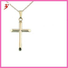 """14k yellow gold cross pendant with 15"""" rope chain for kids and teen(A104730)"""