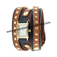 New Style Square Face Leather Wrap Around Watch,leather band stone face watch