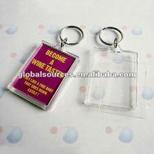 2012 promotion rectangle acrylic photo keychain photo frame keyring