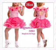 2012 Sweet Flower collor pink organza short kids dancing dresses