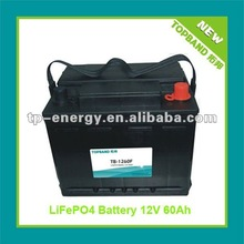2012 New Arrival 12V 60Ah Rechargeable LiFePO4 Solar Battery with BMS Protection