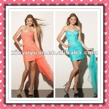 2012 New Arrival Stylish Unique Sexy Sheath Sweetheart Organza Beaded Cockitail Dress Party Dress MLC-122