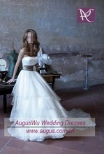 AWB0340 2012 Simple White Layered Organza Couture Wedding Gown