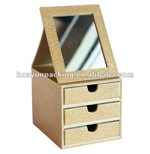 2012 Folded Glass PU Leather Cosmetic Jewellery Box