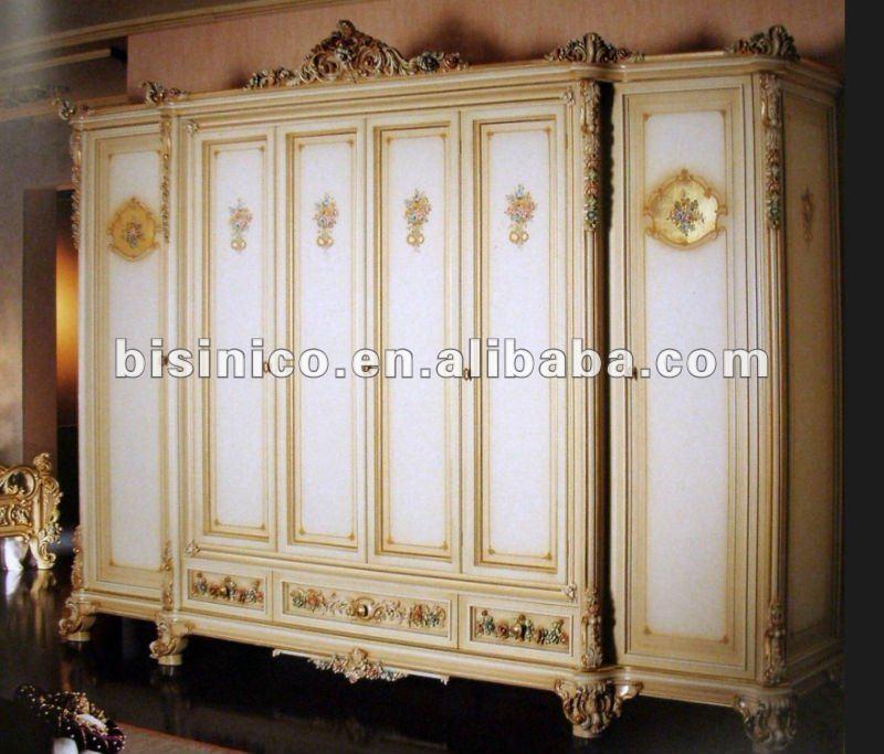 European Classical Wooden Hand Carved Home Bedroom Furniture 6 Doors Wardrobe