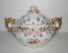 Home decoration European porcelain arts-White&gold colour Beauty antique ceramic Flower Jar, MOQ:1PC(B15206)