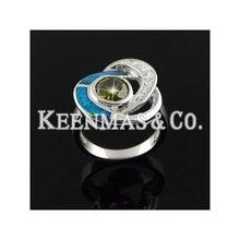 925 sterling silver/brass jewelry,blue fire opal&cz stone jewelry,diamond jewelry