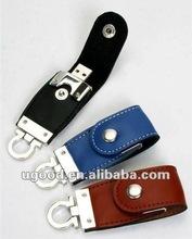 HOT key ring leather USB flash disk