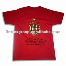 Promotion Long Sleeve Embroidery Cotton Round-neck T-shirt with AC Milan Printing Logo