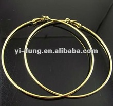 80mm Gold Plated Hoop Earrings Big Circle Earring Promotion Paparazzi Basketball Wives Earrings Free Shipping