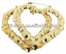 """14k Gold Filled Large 3"""" Bamboo Heart Shape Hoops Hoop Doorknocker Earrings"""