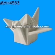White Ceramic Crane Shape Oil and Vinegar Cruet