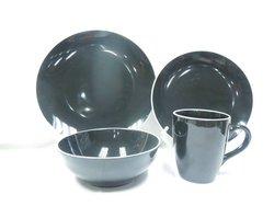Round coupe black color with white rim stoneware dinnerware set
