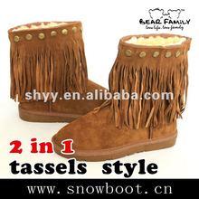 Women leather winter boots Tassel fashion snow boots