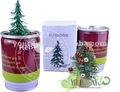 Flores y árboles de Navidad en lata. Semillas dentro de la lata