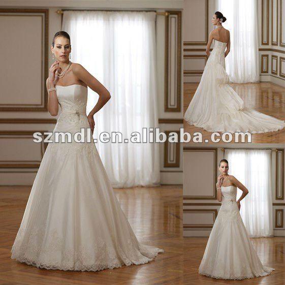 Newest Design Designer White Sheath Beaded Puffy Hemline Wedding Dress