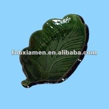 green ceramic tree plates