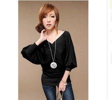2012 fashion half sleeve drape V neck bat-wing sleeve knitwear