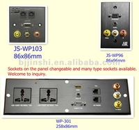 Black wall socket plate Audio, USB and HDMI outlet for family, office and hotel