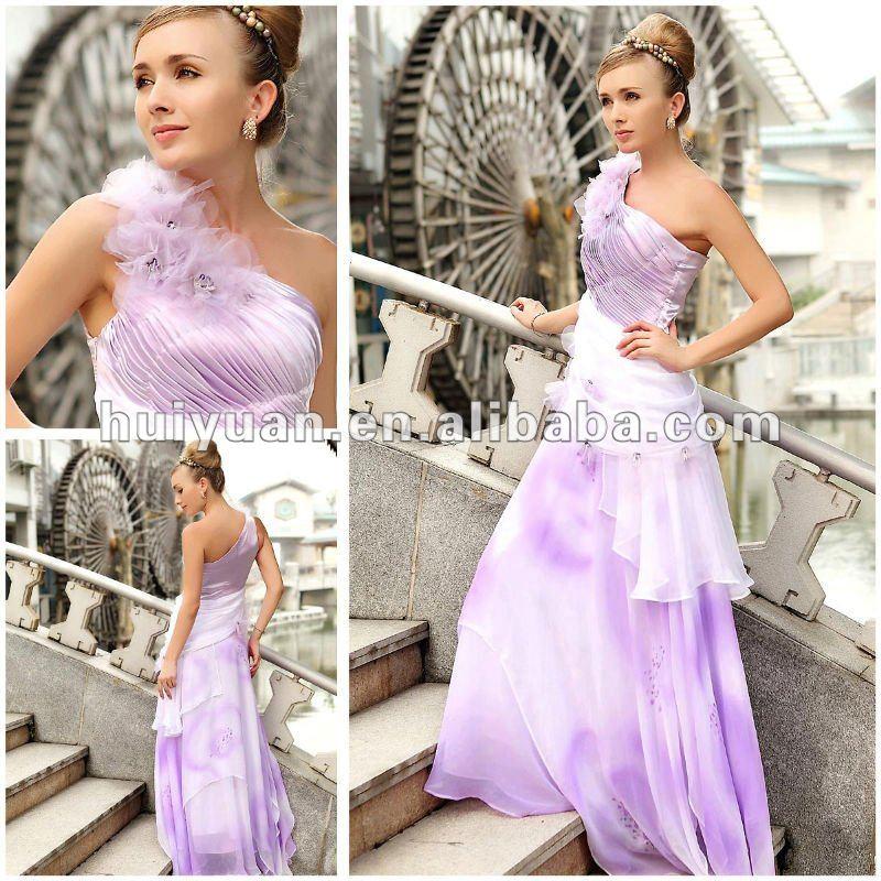 purple and white wedding dresses