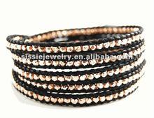 Rose Gold Beads Wrap Bracelet On Black Leather