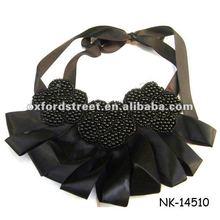 Fashion black neck collar silk collar necklace,neck tie