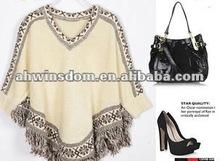 2012 fashion Bohemian V neck purl nation style cloak type knitwear
