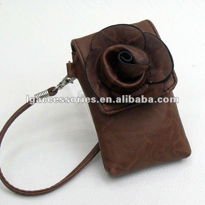En forme de fleur en cuir mobile téléphone sacs de transport / caméra paquet