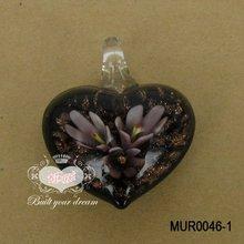 Flower Inlaid Heart Murano Pendant