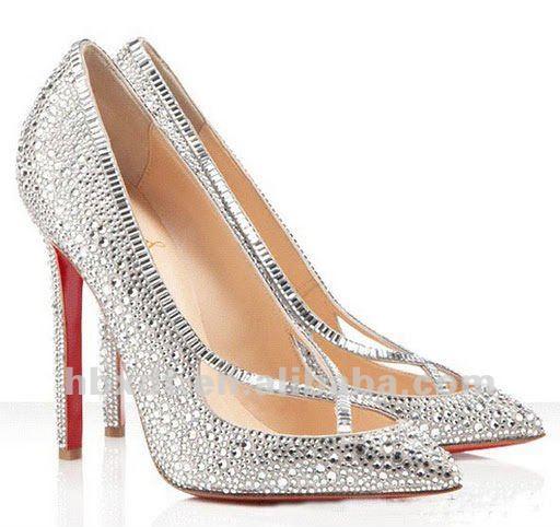Diamond silvery women wedding shoes pumps high heel dance pumps