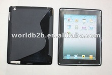 "S form TPU Gel Clear Case Cover for iPad 3 ""S "" & Skidproof Veins design"