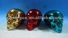 ceramic money box of skull shape electroplated