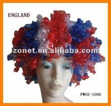 England National Flag Color Football Fan Wig Party Wig Sports Fan Wig FW02-1006