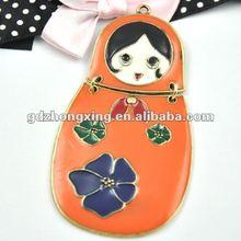 Orrange lovely little girl alloy and enamel pendants