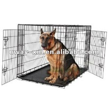 UW-PDC-003 Large size two doors and two carry handles design steel folding dog cage,dog crate,dog kennel with plastic tray