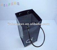 Tied Tube Handle Black PVC Ice Wine Bag