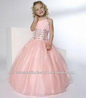 One shoulder beaded ruched pink ball gown skirt custom-made pageant dress flower girl dresses CWFaf4136