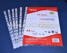 11 holes A4 pocket clear sheet protectors,white strip pocket