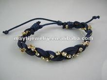 2012 NEW leather wrap bracelet rhinestones