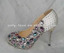 BS336 fashion 2012 custom make jeweled pump colourful rhinestones bridal wedding shoes